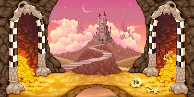 Fantasy landscape with castle, caverns and treasure Premium Vector