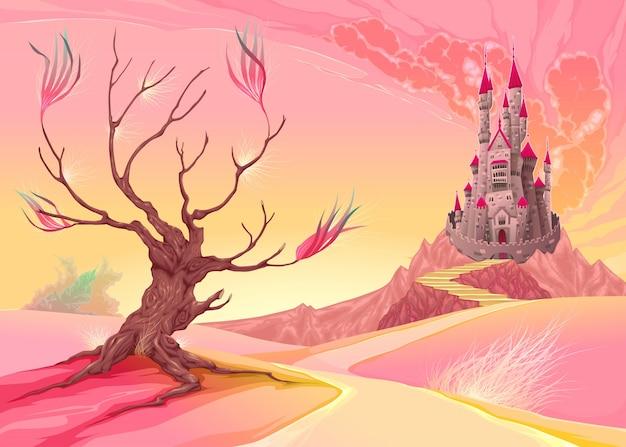 Landscape Illustration Vector Free: Fantasy Landscape With Castle Vector