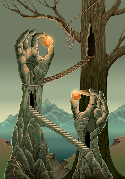 Paesaggio di fantasia con l'illustrazione del fumetto delle statue della mano Vettore gratuito