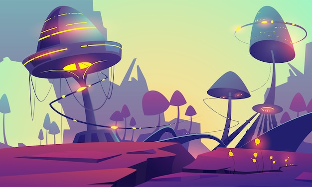 Fantasy landscape with magic glowing mushrooms and plants. vector cartoon illustration of fantastic alien nature with giant toadstools and mountains. mystic outdoor scene with funguses Free Vector