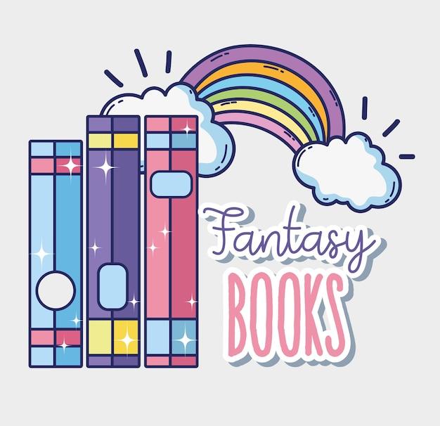 Fantasy and magic books cute cartoons Vector | Premium Download