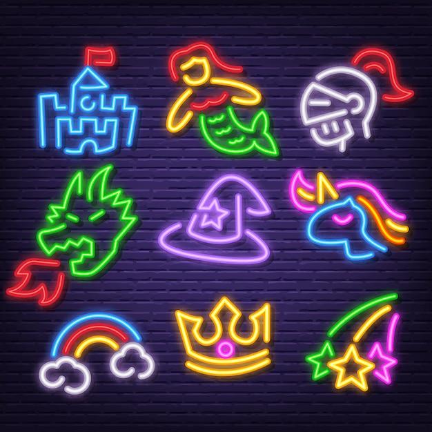 Fantasy neon icons Premium Vector