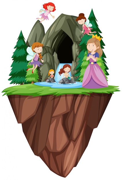 Fantasy people in front of cave Free Vector