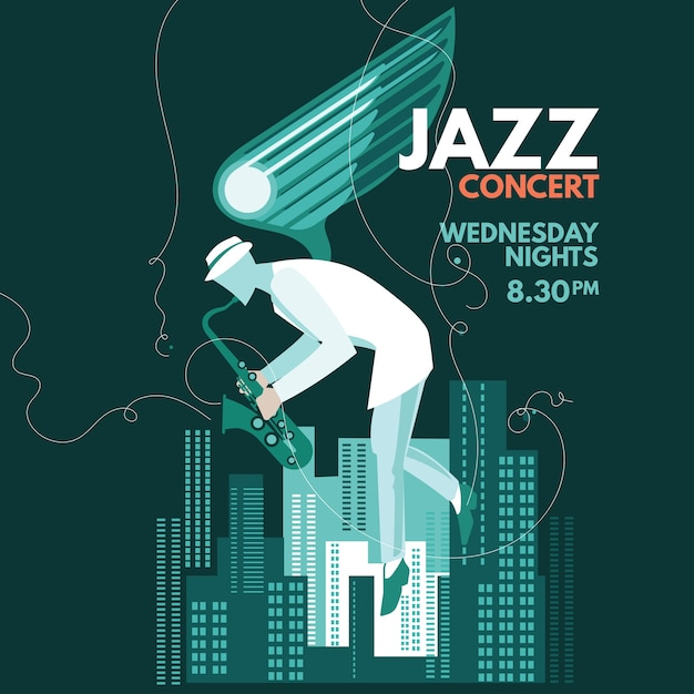 Fantasy  saxophonist play saxophone for jazz music Premium Vector