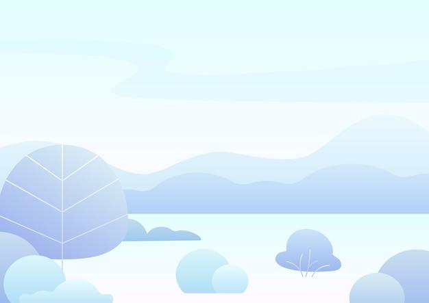 판타지 간단한 만화 겨울 풍경, 현대 그라데이션 자연. 프리미엄 벡터