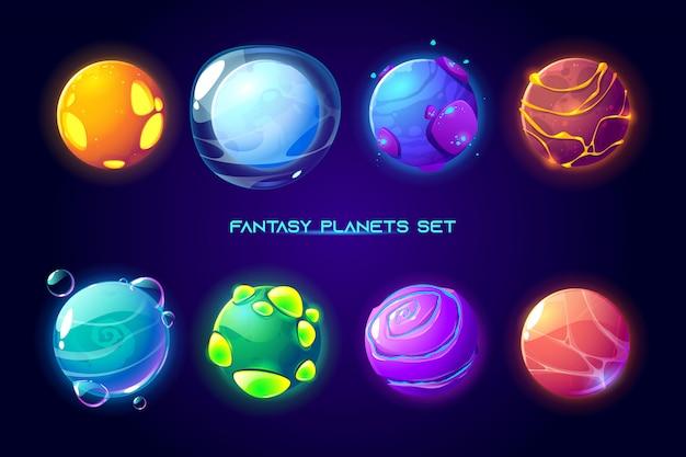 Pianeti spaziali fantasy per il gioco della galassia Vettore gratuito