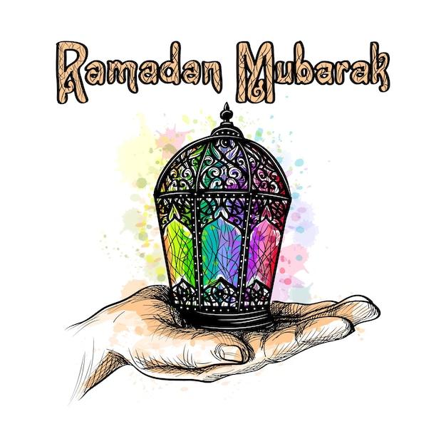 ファヌスランタン。ラマダンカリームの聖なる月のイスラム教徒の休日。あなたの手のひらの上でランタン。図 Premiumベクター