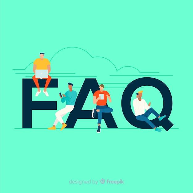 Faq concept flat background Free Vector