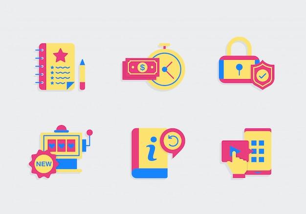 Faq icon set с цветами Premium векторы