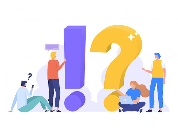 Faq and qna  ilustration , people characters standing next to question marks. woman and man  online support center. flat  illustration,  landing page, template, ui, web Premium Vector