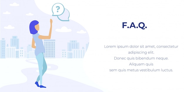 Faq service online support advertising banner Premium Vector