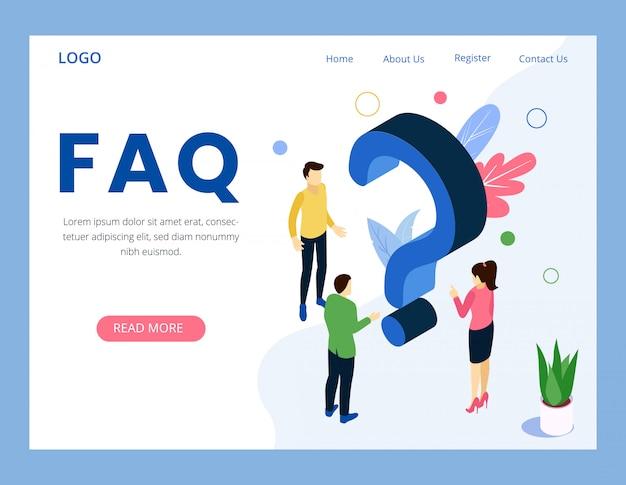 Faq часто задаваемый вопрос целевой страницы Premium векторы