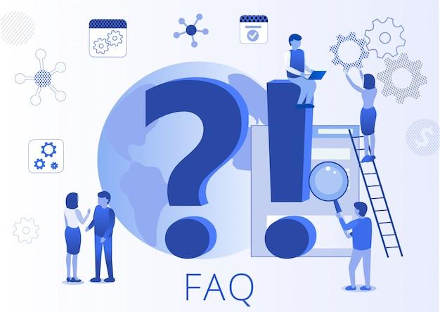 Часто задаваемые вопросы faq плоская целевая страница Premium векторы