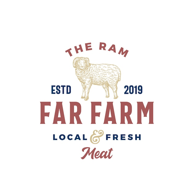 The far meat farm abstract vector sign, symbol or logo template Free Vector