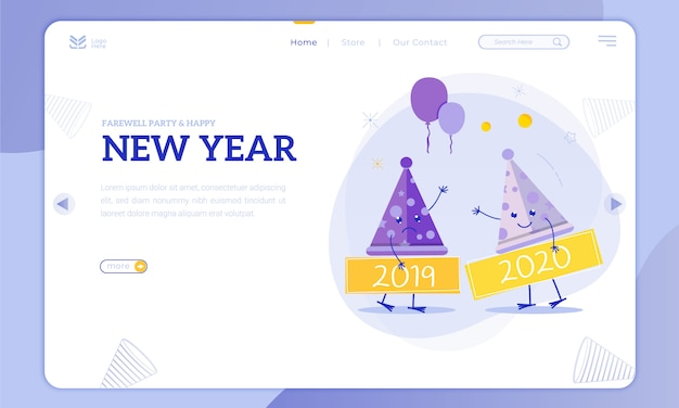 Farewell party and new year on the landing page Premium Vector