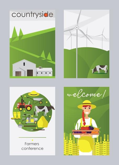 分離された農場と田舎の平らな垂直カードまたはポスターセット 無料ベクター