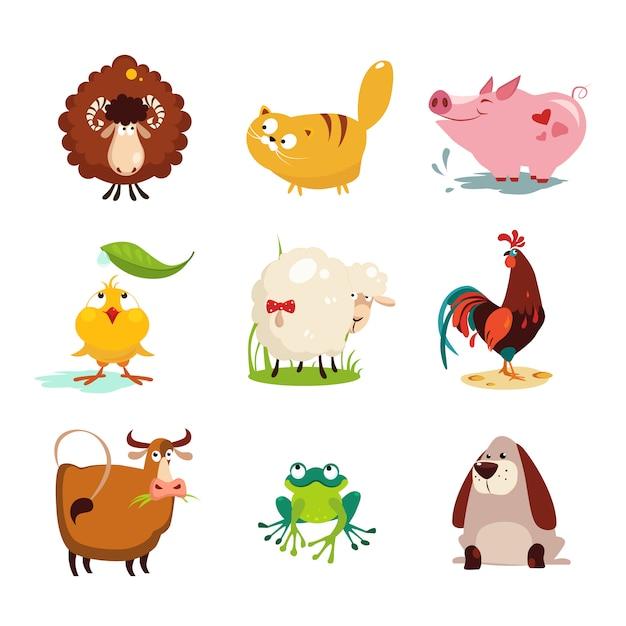 農場の動物と鳥のコレクションセット Premiumベクター