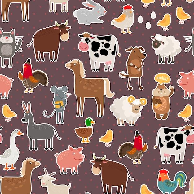 家畜やペットのステッカーパターン。牛と羊、豚と馬 無料ベクター