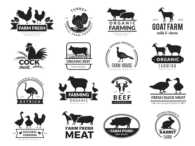 Farm animals. business logo with domestic animals cow chicken goat healthy food symbols farm collection Premium Vector