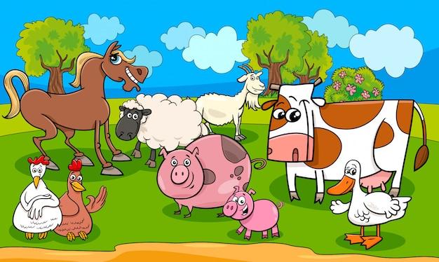 Farm animals cartoon illustration Premium Vector