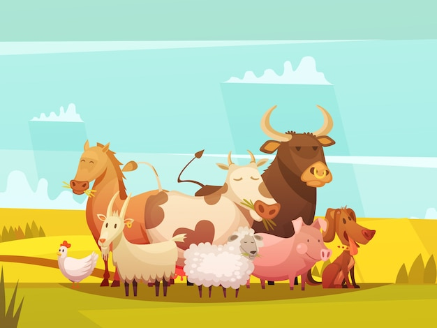 Farm animals in countryside cartoon poster Free Vector