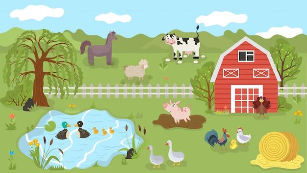 夏の牧草地、イラストの農場の動物かわいい漫画のキャラクター Premiumベクター