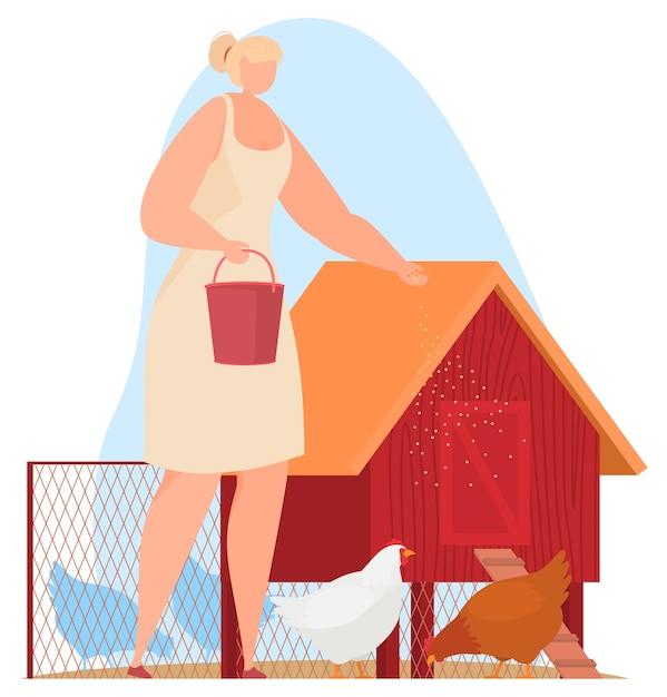 Farm animals, farmer. feeding chickens, chicken coop.  illustration Premium Vector