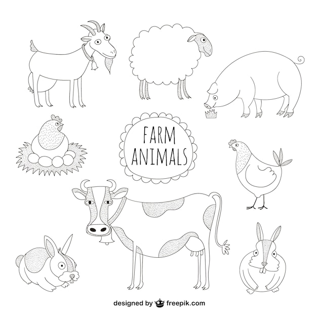 farm animals illustrations vector free download. Black Bedroom Furniture Sets. Home Design Ideas