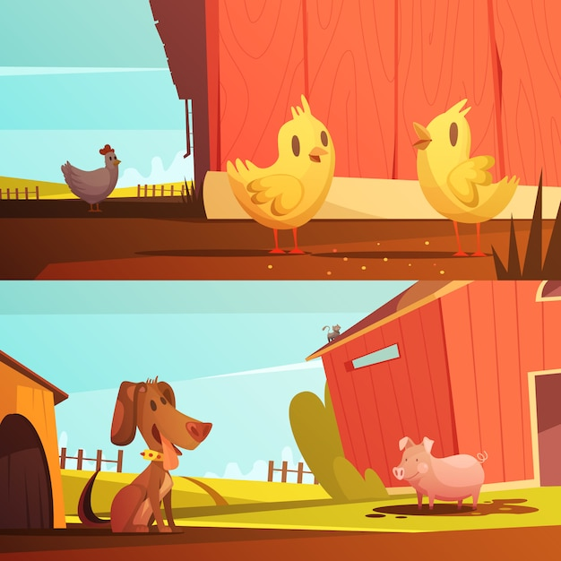 Farm animals for kids 2 horizontal cartoon style banners with doghouse for guard dog isolated Free Vector