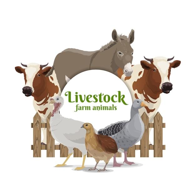 家畜、家畜、家禽のバナー。 Premiumベクター