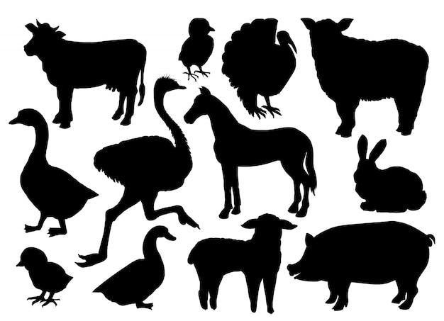 농장 동물 가축 실루엣. 무료 벡터