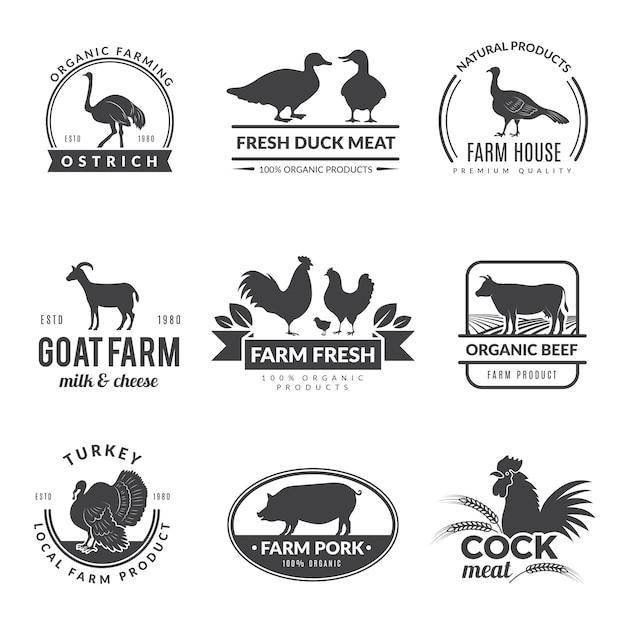 農場の動物のロゴ。ファーマーズコレクションの新鮮な健康食品の牛羊山羊のシンボル Premiumベクター