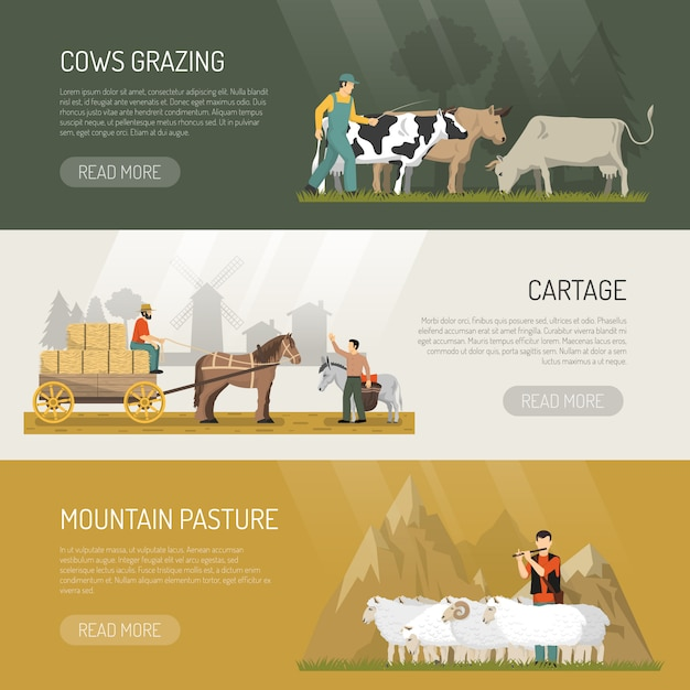 Farm animals pasture banners Free Vector