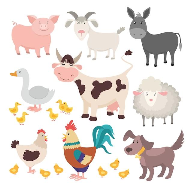 Домашний скот. свинья осел корова овца гусь петух собака мультфильм дети животное изолированный набор Premium векторы