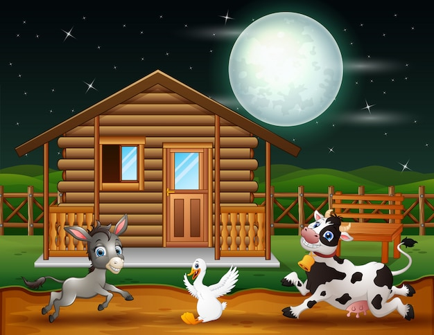 Farm animals playing in the night scene Premium Vector