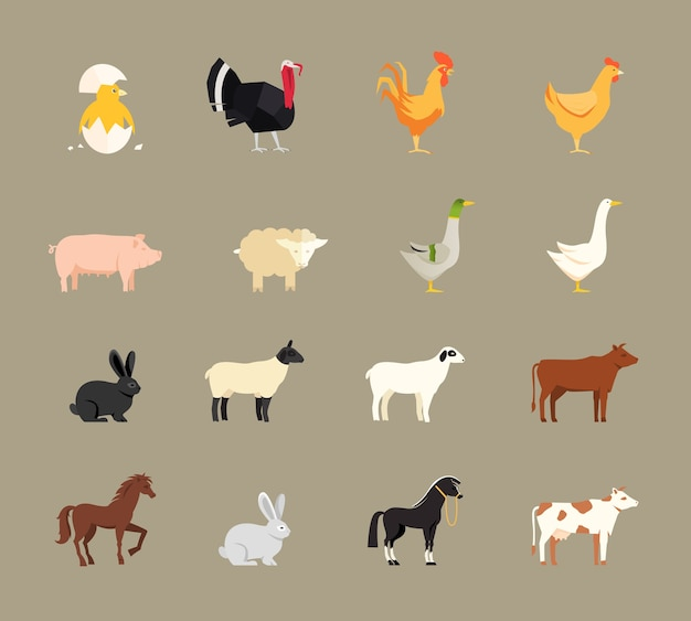 Farm animals set in flat vector style Free Vector