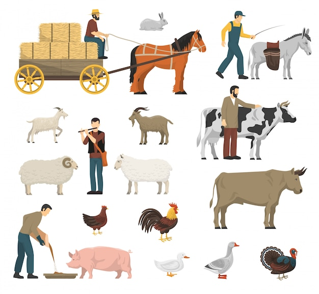 Farm animals set Free Vector