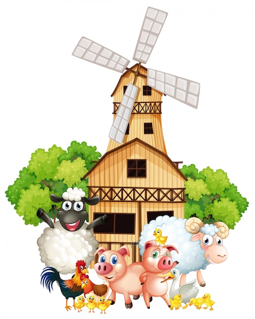 Farm animals and windmill Free Vector