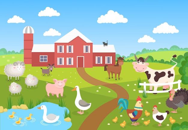 풍경과 농장 동물. 말 돼지 오리 닭 양. 어린이 도서 만화 마을. 농장 배경 장면 프리미엄 벡터