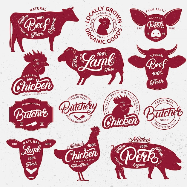 Farm animals with lettering words Premium Vector