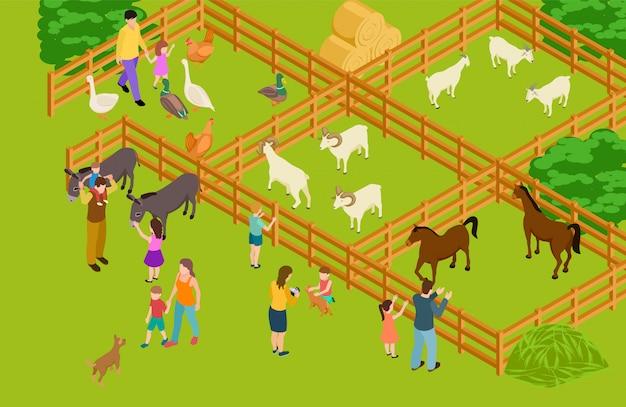 農場の動物園。等尺性ベクトルの家畜と人々の文字。 Premiumベクター