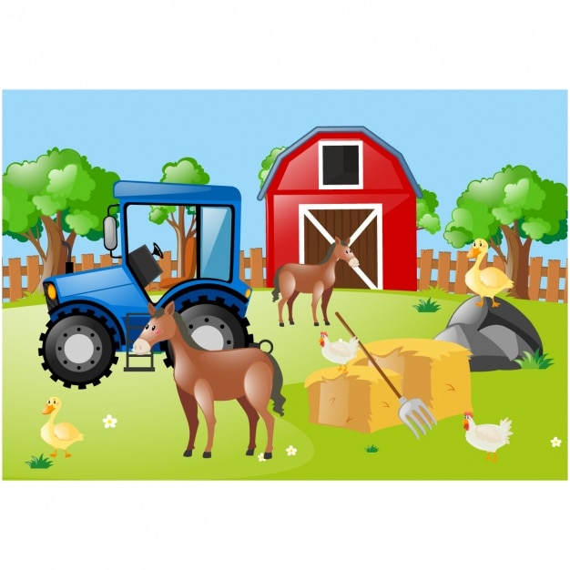 Farm background design Vector | Free Download