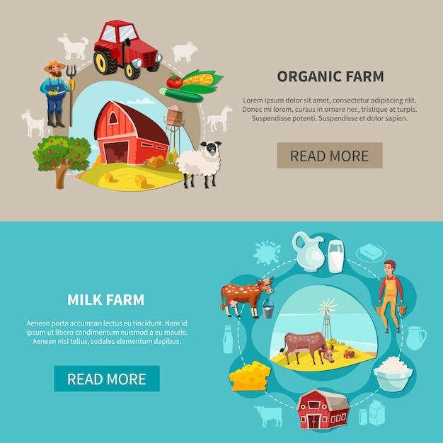 Set di banner di fattoria Vettore gratuito