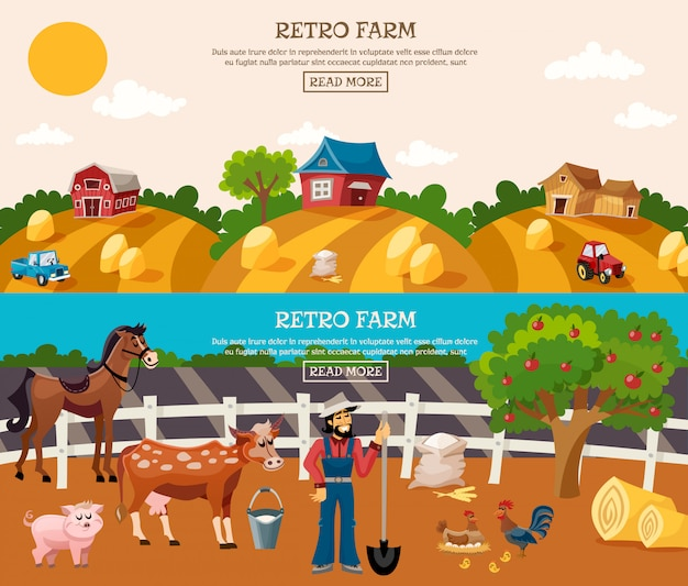 Farm banner set Free Vector