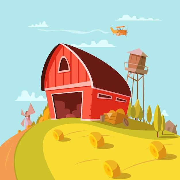 필드 곡물 및 건초 벡터 일러스트와 함께 농장 건물 만화 배경 프리미엄 벡터