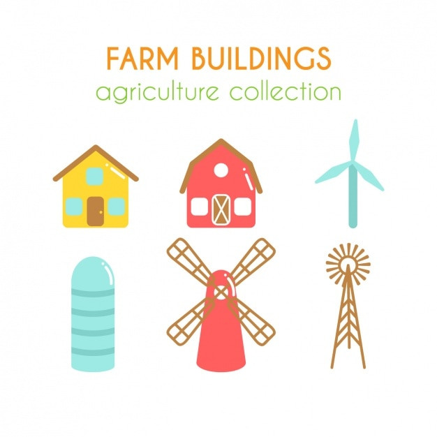 Farm buildings collection Free Vector