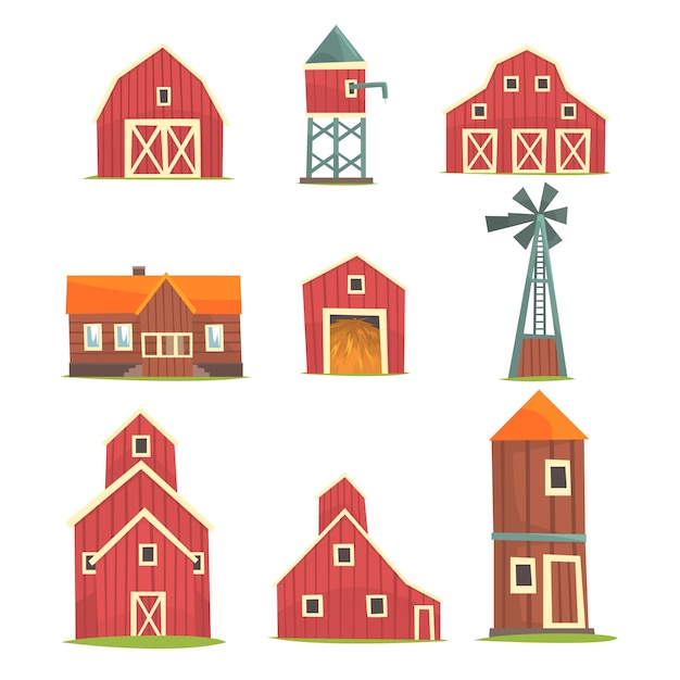 Farm buildings and constructions set, countryside life and agriculture industry objects  illustrations Premium Vector