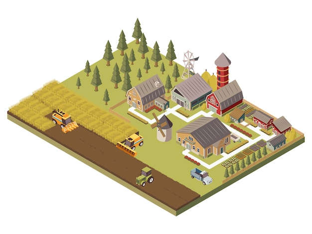 Farm buildings and cultivated fields illustration Free Vector
