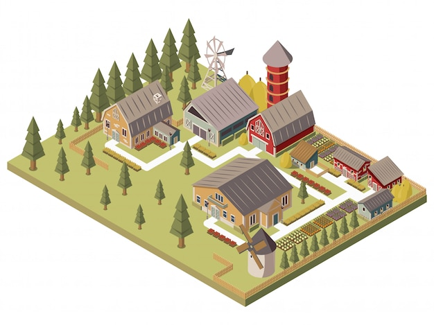 Farm buildings isometric illustration Free Vector