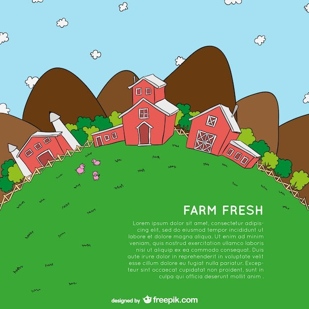 Farm cartoon template Free Vector